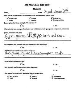 ARC Afterschool survey 2