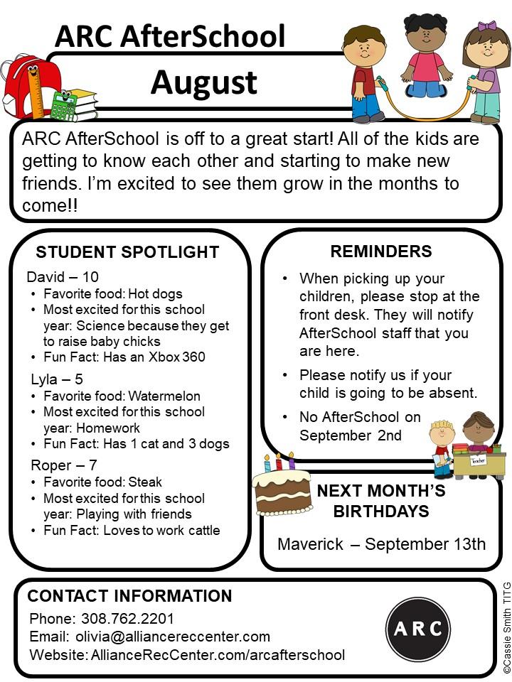arc afterschool member newsletter