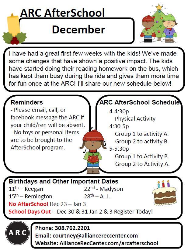 arc afterschool, parent newsletter